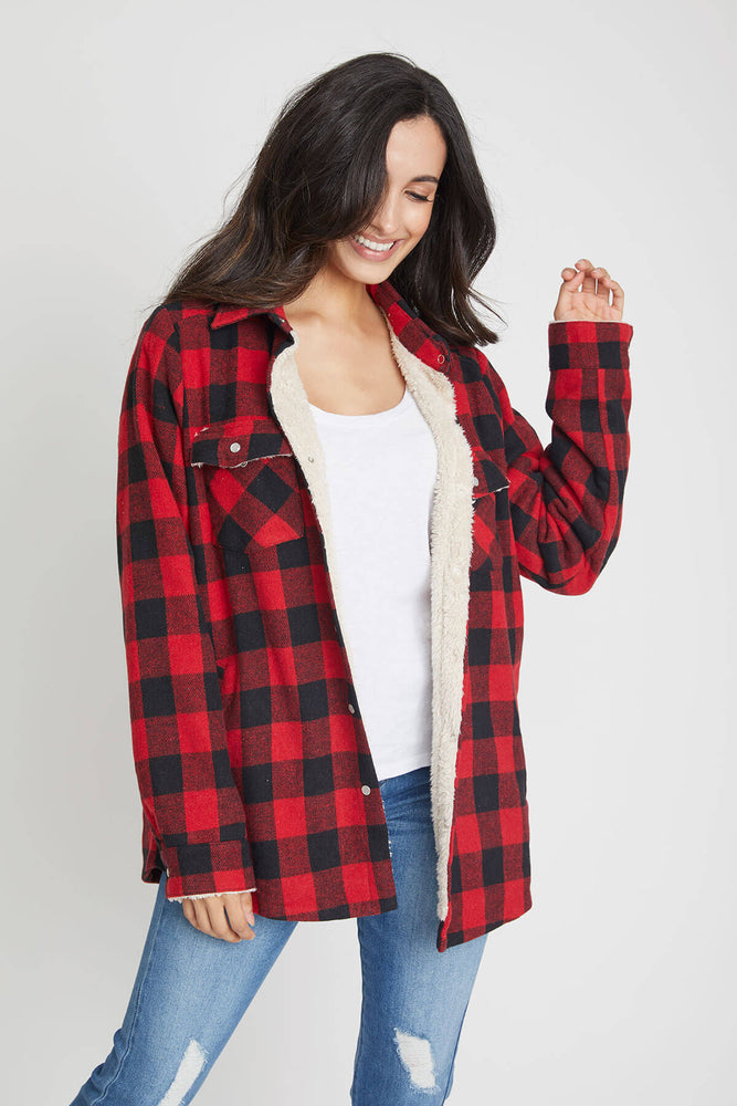 Blu Ivy Buffalo Plaid Shearling Lined Shirt Jacket