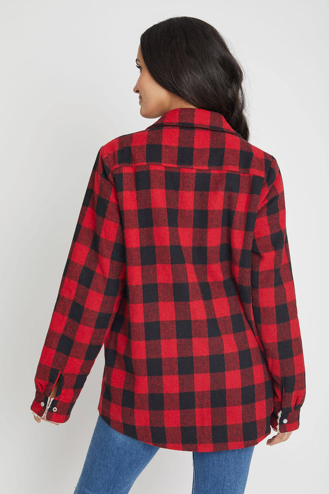 Load image into Gallery viewer, Blu Ivy Buffalo Plaid Shearling Lined Shirt Jacket