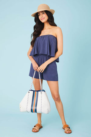 Load image into Gallery viewer, THML Strapless Ruffle Romper
