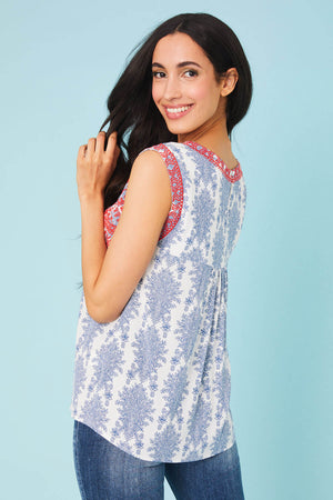 THML Embroidered Printed Capsleeve Top