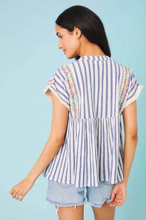 Load image into Gallery viewer, THML Embroidered Stripe Top