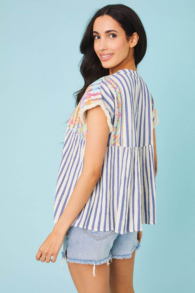 THML Embroidered Stripe Top