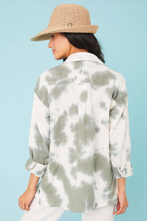 Hem and Thread Tie Dye Button Down Shirt