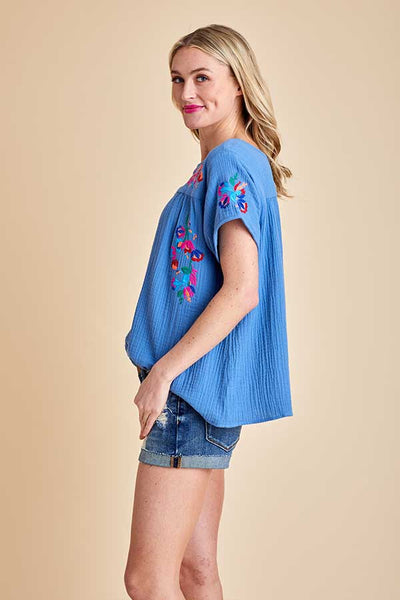 See and Be Seen Gauze Embroidered Top