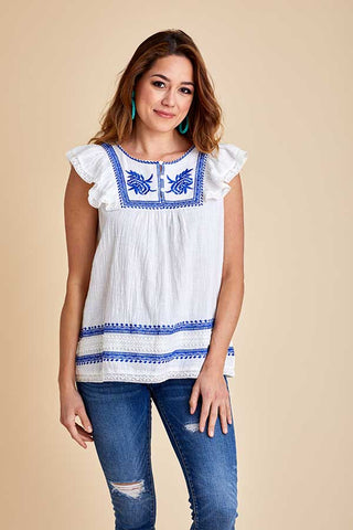 See and Be Seen White/Blue Embroidered Top