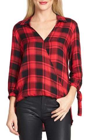 She and Sky Plaid Cross Front Top