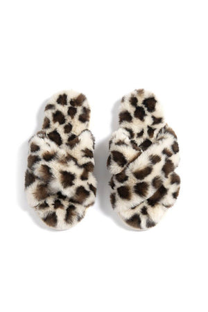 Criss Cross Faux Fur Slippers