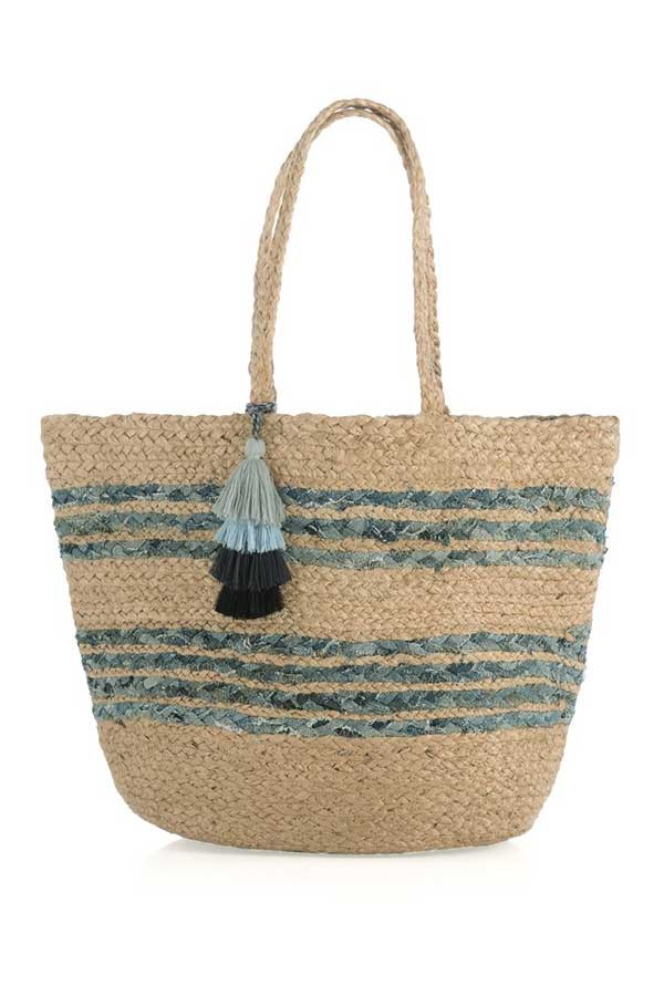 Shiraleah Denim Woven Tote Bag