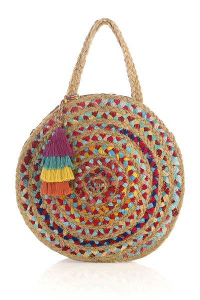 Shiraleah Round Woven Multi Color Bag