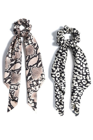 Shiraleah Animal Scarf Pony Scrunchie (Set of 2)
