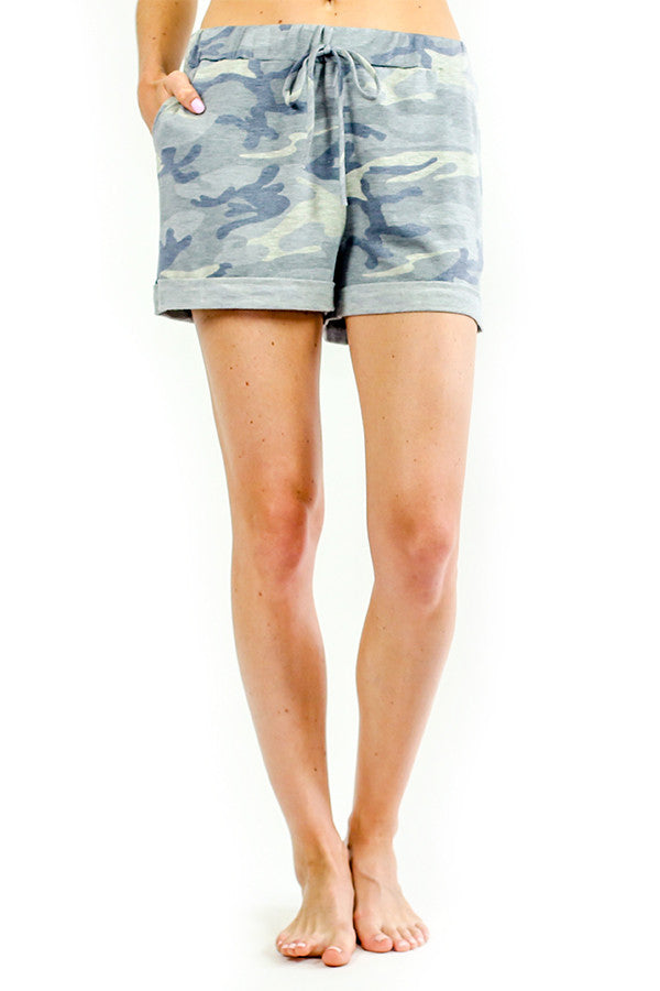 Six Fifty Grey Camo Drawstring Shorts