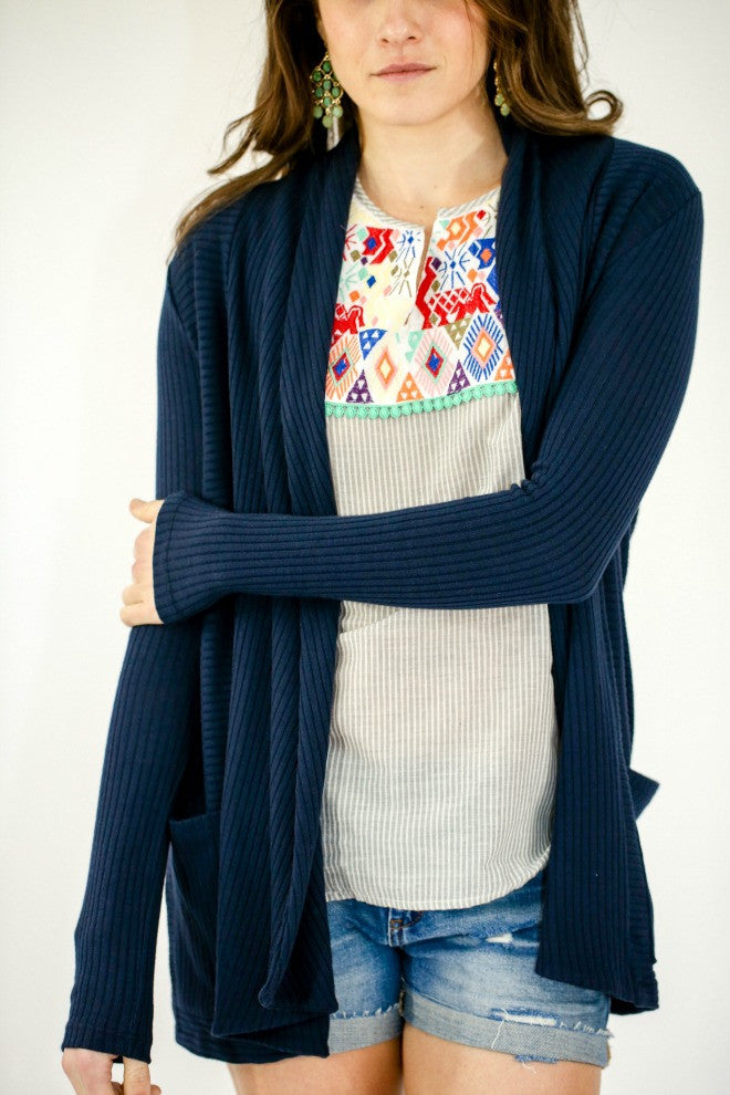 Six Fifty Ribbed Cardigan with Pockets