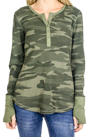 Six Fifty Thermal Camo Print Long Sleeve Top