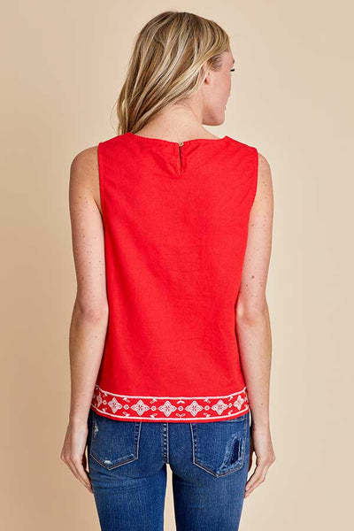 Skies Are Blue Coral Embroidered Top