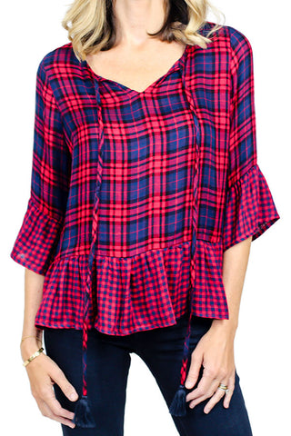 Skies Are Blue Plaid Ruffle Shirt