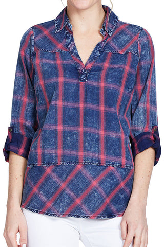 Skies Are Blue Pullover Plaid Chambray Tunic