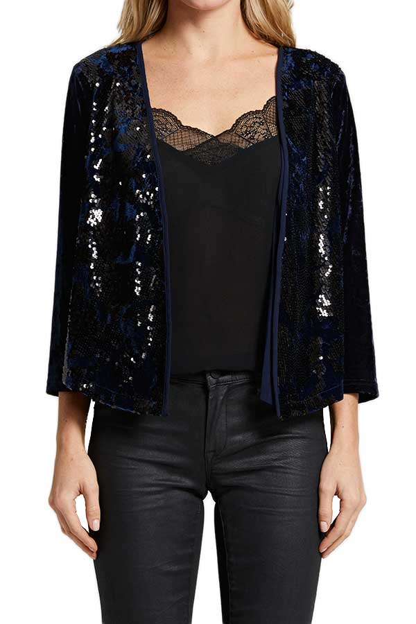 Skies Are Blue Velvet Sequin Jacket