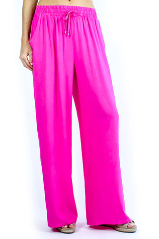 Smocked Waist Solid Pants