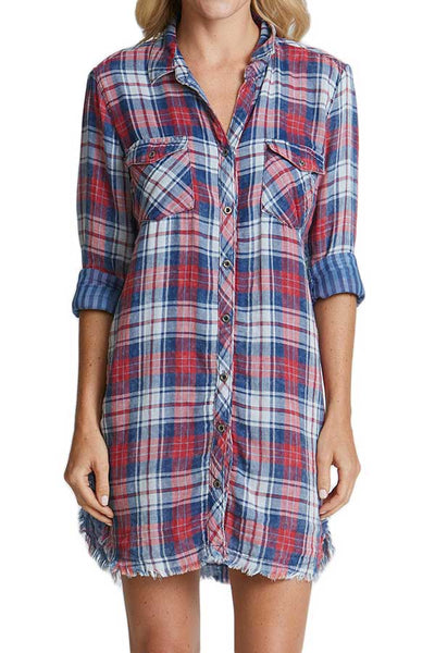 Sneak Peek Plaid Shirt Dress