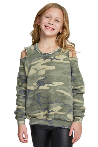 So Nikki Fleece Camo Cold Shoulder Sweatshirt