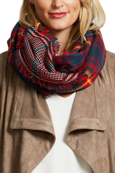 Social Threads Plaid Reversible Infinity Scarf