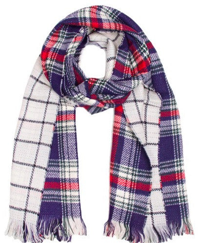 Social Threads Fringe Plaid and Check Reversible Scarf