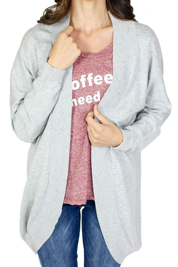 Solutions Grey Split Back Cardigan