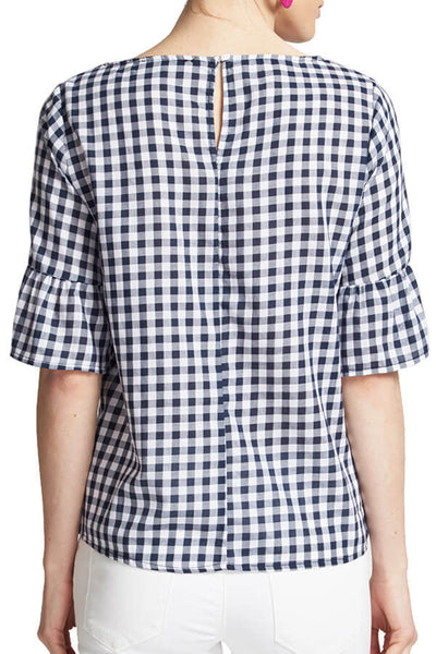 Staccato Tie Waist Gingham Top