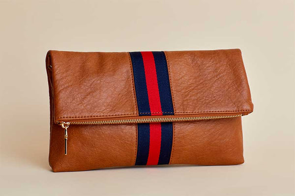 Stripe Faux Leather Foldover Clutch
