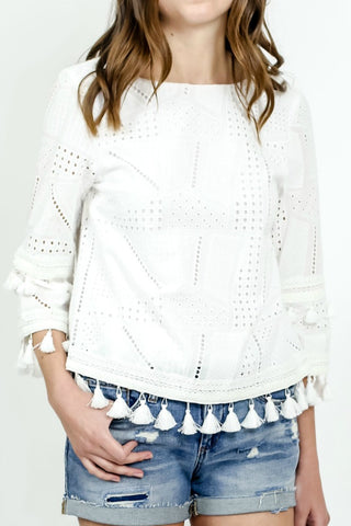 Sugar Lips Tassel Eyelet White Top