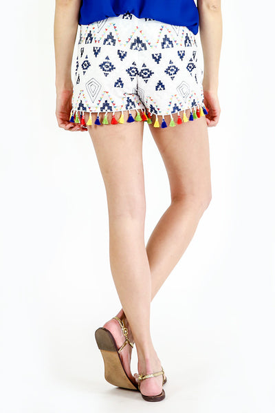 Sugar Lips Tassel Embroidered Shorts