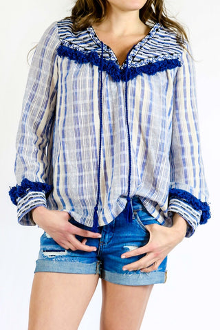 Sugar Lips Embroidered 3/4 Sleeve Fringe Tunic