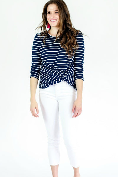 Sugar Lips Striped Knot Front Long Sleeve Top