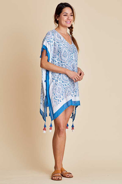 Surf Gypsy Blue/Coral Baroque Print Coverup