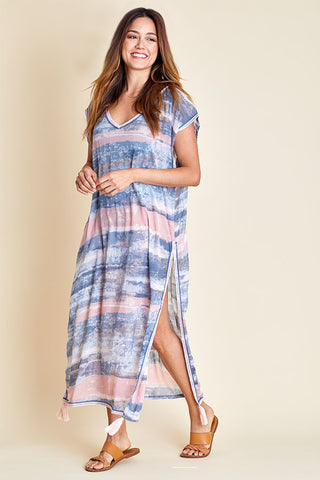 Surf Gypsy Dusty Pink/Slate Grey Maxi Coverup
