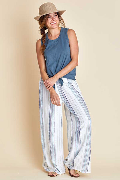 Surf Gypsy Metallic Print Stripe Beach Pants