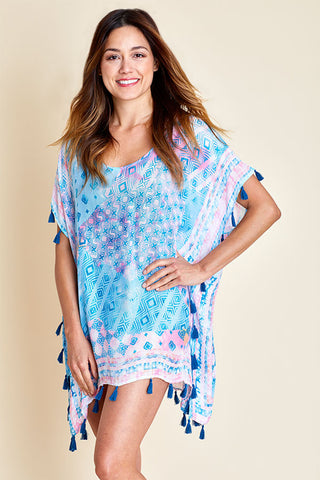 Surf Gypsy Pink/Blue Tassel Coverup