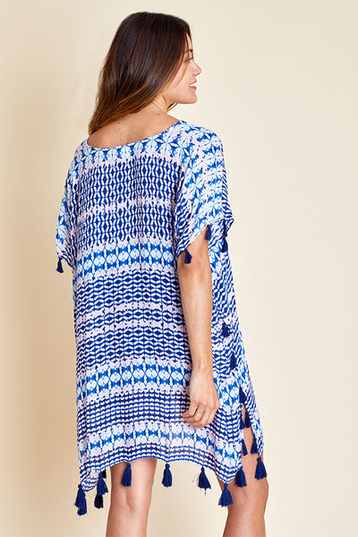 Surf Gypsy Purple/Navy Tassel Coverup