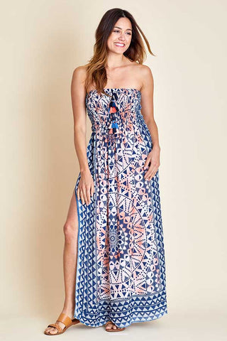 Surf Gypsy Strapless Printed Maxi Dress/Coverup
