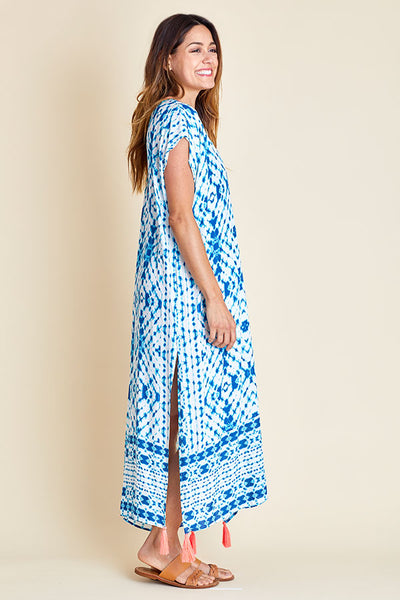 Surf Gypsy Turquoise/Coral Tassel Maxi Coverup