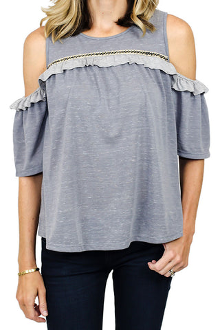THML Cold Shoulder Grey Tee