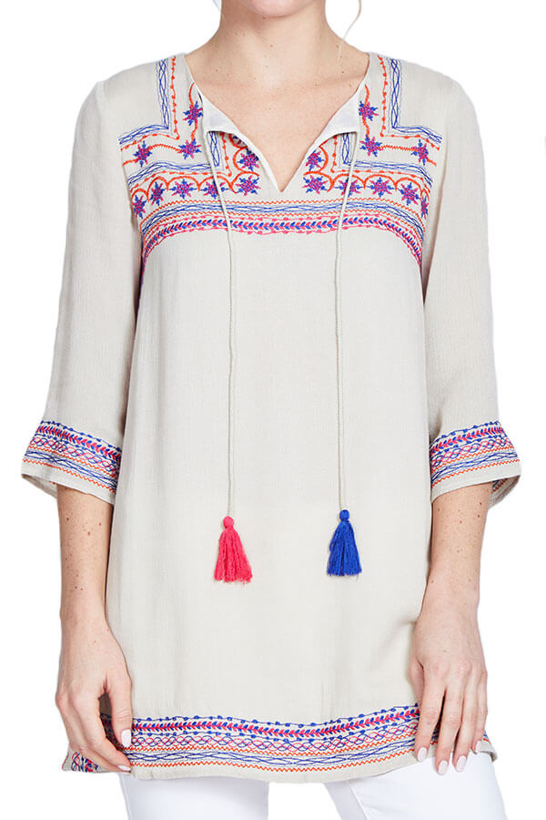 THML Embroidered 3/4 Sleeve Tunic/Coverup