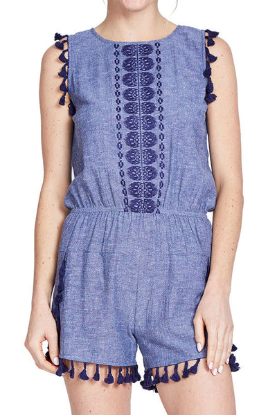 THML Embroidered Chambray Romper