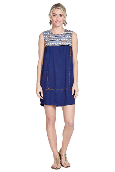 THML Embroidered Navy Dress