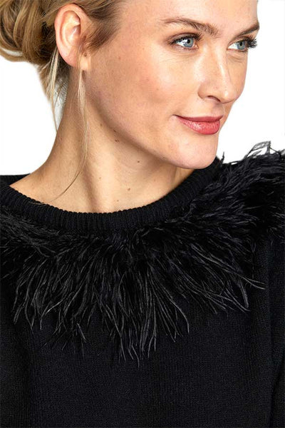 THML Faux Feather Turtleneck Sweater