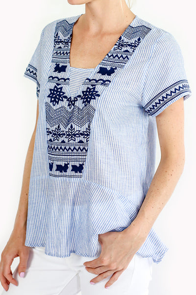 THML Embroidered Blue/White Short Sleeve Peplum Top