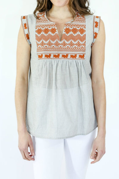 THML Orange Embroidered Capsleeve Top