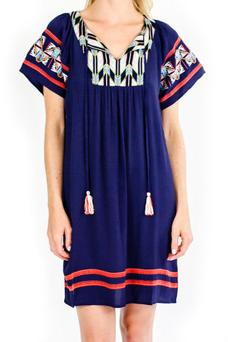 THML Embroidered Short Sleeve Navy Dress