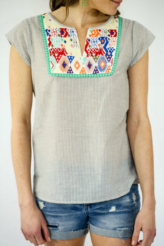 THML Grey/White Pinstripe Embroidered Bib Capsleeve Top