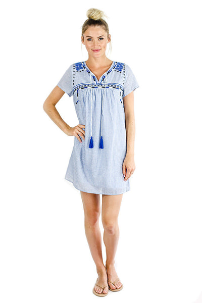 THML Pinstripe Short Sleeve Dress